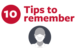 10 tips to remember, icon of face wearing mask
