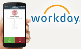 hand holding smartphone with 2-step login screen and Workday logo