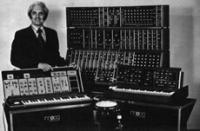 Archival photo of Robert Moog and early synthesizers