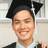 Young man in graduating garb