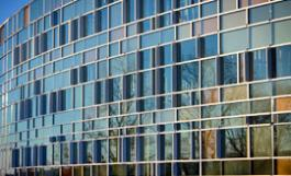 Windows of new Gannett health building