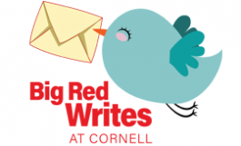 """Big Red Writes at Cornell,"" cute blue bird carrying envelope"