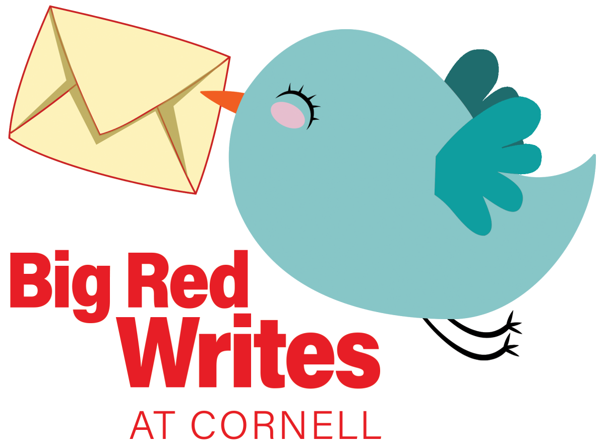 "cheery little blue bird carrying a letter with Cornell seal, ""Cornell Big Red Writes"""