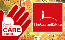 CARE Fund Logo & Cornell Store Logo against autumn leaves background