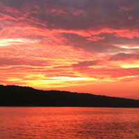Spectacular sunset colors on the lake