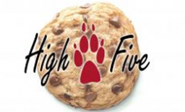 high five logo & chocolate chip cookie