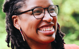 smiling woman with eyeglasses