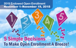 A blue sky with kites floating around that addresses the 5 simple decisions for open enrollment