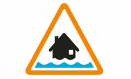 icon of danger sign with flooded home