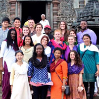 Diverse students posed together in India