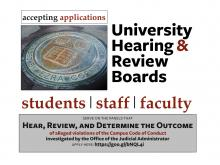 University Hearing & review Boards applications out now for students, staff, and faculty