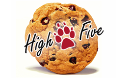 cookie with high five logo