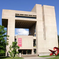 exterior view of Johnson museum's striking modern architecture
