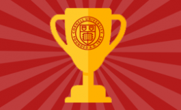 graphic illustration of a Cornell-monogrammed trophy