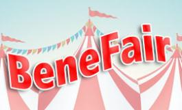Benefair graphic with striped tents & flags