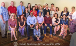 Group photo of employees at HR service awards
