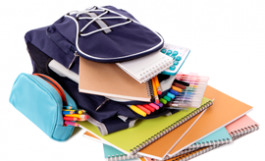 photo of backpack filled with school supplies
