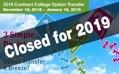 postcard announcing contract college option transfer - 3 simple decisions