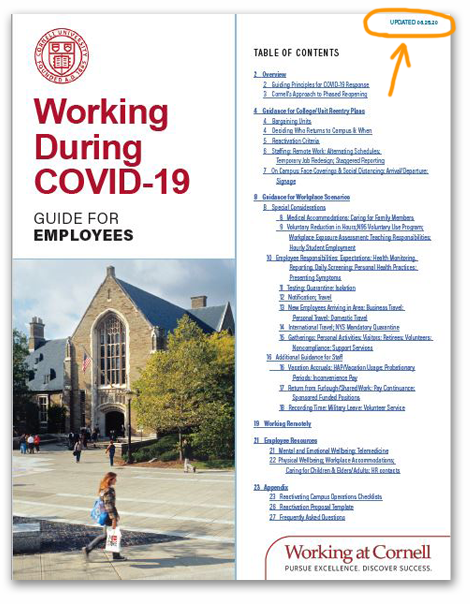 cover of Working During COVID-19 guide for employees booklet