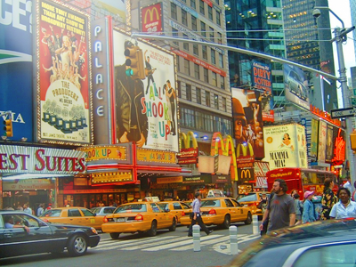 colorful view of Broadway & taxis daytime