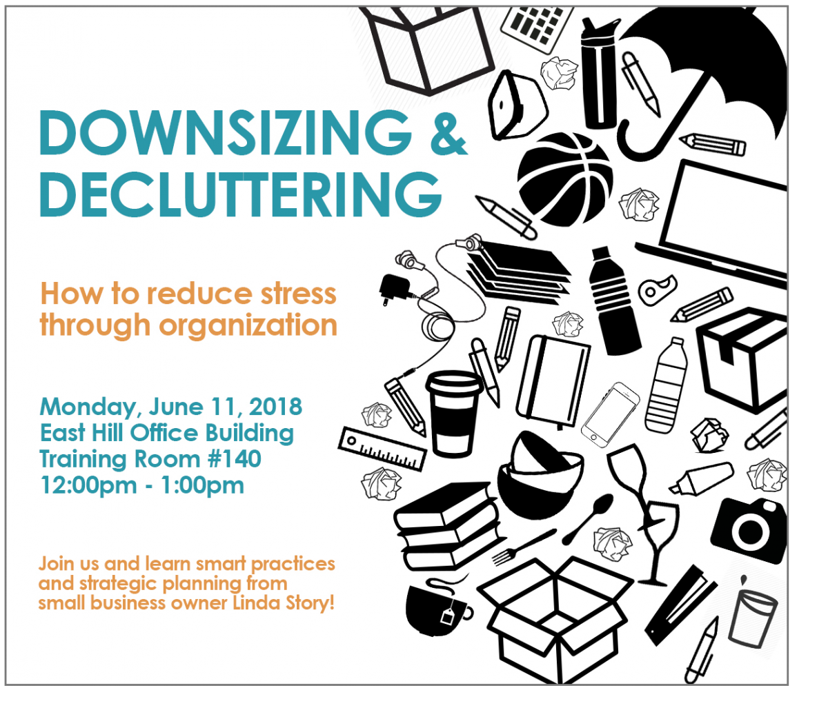 decluttering flyer with graphics of strewn items