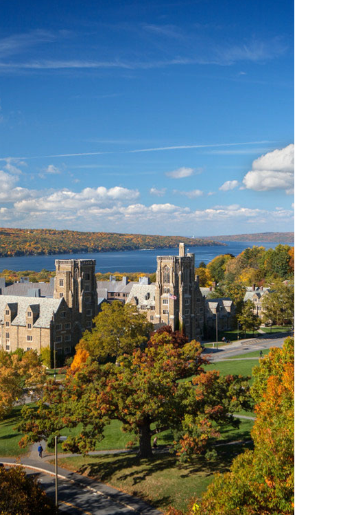 aerial view of cornell with cayuga lake on spectacular fall day