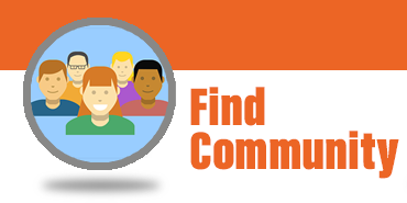 """find community"" - icon diverse group people"