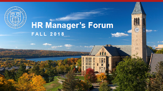 cover slide of Managers forum presentation, aerial view Cornell