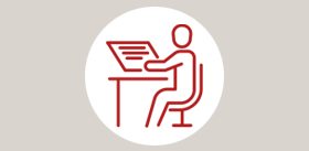 icon figure working at desk