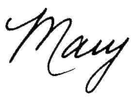 "signature: ""Mary"" handwritten"