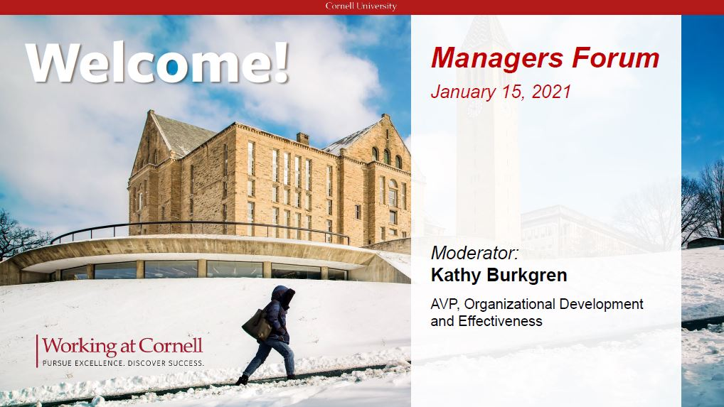Cover of Managers Forum presentation