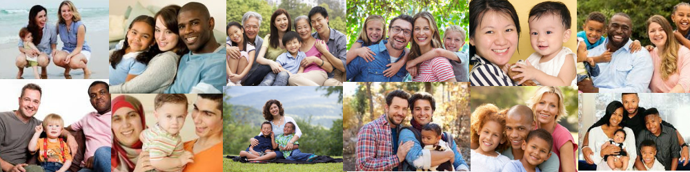 photo collage of many types of diverse families