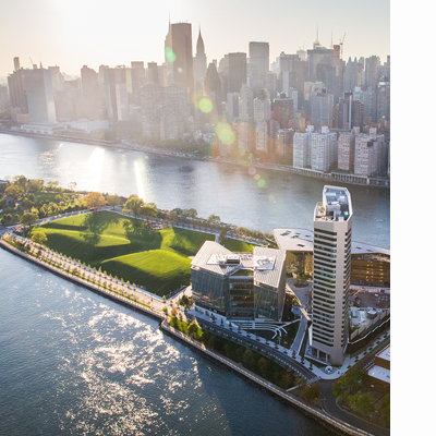 aerial of cornell tech campus on roosevelt island in nyc