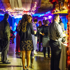 guests gathered in decorated pavilion at night