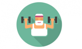 illustration of old man with white beard lifting weights