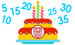 graphic of cake with cornell logo surrounded by 5-10-15-20-25-30
