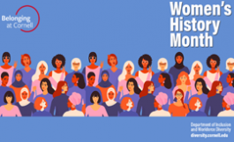 "womens history month zoom background - blue with icons of diverse women, ""Belonging at Cornell"" logo"